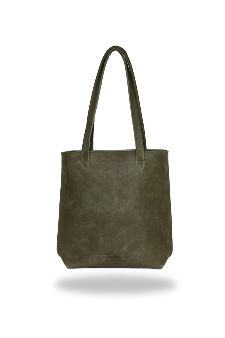 Happy April Product foto's vaste collectie shopper leer olijf groen_voor